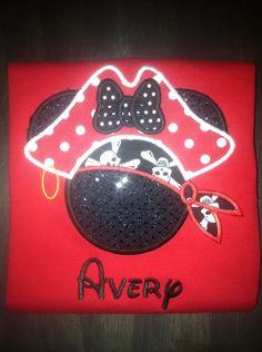 Girl's Pirate Mickey Ear shirt by BellaRagazzi on Etsy