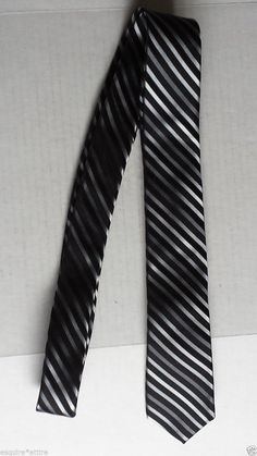 Nicole Miller Men's Slim Dress #tie Black with Stripes 100% silk visit our ebay store at  http://stores.ebay.com/esquirestore