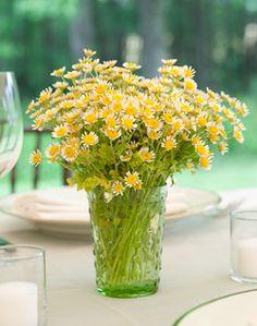 Mini yellow daisy centerpiece