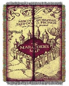 Harry Potter Marauders Map Woven Tapestry Throw Blanket perfect addition for my harry potter room.#ad