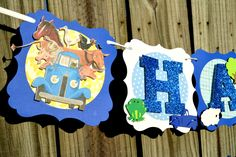 Little Blue Truck Banner, Little Blue Truck Happy Birthday Banner, Little Blue Truck, Farm Banner, Little Blue Truck Birthday Banner by NishsCreations on Etsy Creative Banners, Little Blue Trucks, Glitter Cardstock, Name Banners, Thank You Tags, Happy Birthday Banners, Blue Glitter, Card Stock, My Design