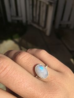 Moonstone ring with a magical blue flash