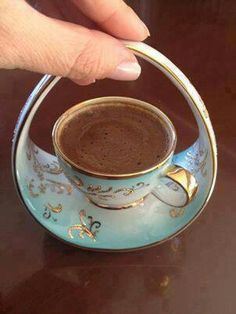 Turkish coffee, how cute this little cup is !~ Turkish coffee, how cute this little cup is ! Tea Cup Saucer, Tea Cups, Cuppa Tea, Teapots And Cups, Mocca, My Cup Of Tea, Coffee Love, Coffee Set, Coffee Girl
