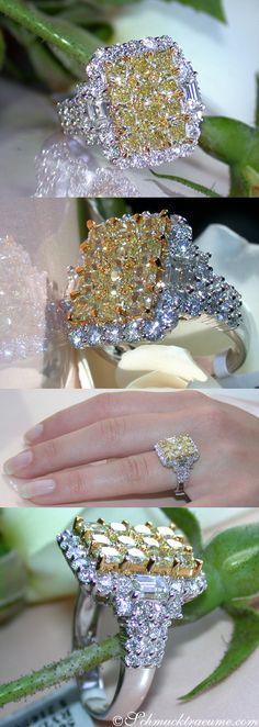 Huge Yellow & White Diamond Ring, 4,24 cts. G-VS/VVS, WG18K