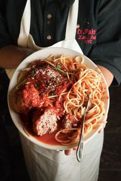 Spaghetti and Meatballs: Lou Di Palo shared his grandmother's recipe for the meatballs that he sells at his family's store, Di Palo's Fine Foods, in New York City. (via Saveur) Meatball Recipes, Meat Recipes, Cooking Recipes, Meatball Subs, Cooking Tips, I Love Food, Good Food, Yummy Food, Italian Dishes