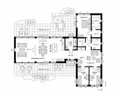 Villa Ängelholm - modern single-floor villa with functional floor plan Residential Architecture, Architecture Design, L Shaped House Plans, Build My Own House, Villa Plan, Minimal Home, Cabin Homes, Plan Design, House Floor Plans