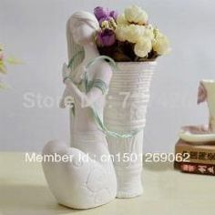 [ 68% OFF ] Unique Flower Vase Girl Sculpture Vase For Home Decoration Crafts Ceramics Vase White Girl Pot