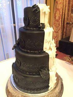 Black and White Star Wars wedding cake.