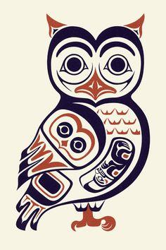 "Haida owl - ""Owl I""- April White Haida Kunst, Arte Haida, Haida Art, Arte Tribal, Tribal Art, Owl Art, Bird Art, Doodles Zentangles, Tatouage Haida"