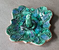 Ceramic Ring Holder Square peacock  edged in gold 3 inches wide