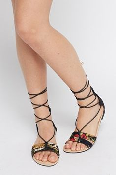 Metallic contrast Tie Up Knee Sandals - 4 Colours - Just Devil Wears Prada, Tied Up, Get The Look, Gladiator Sandals, Contrast, Metallic, Colours, Handbags, Heels