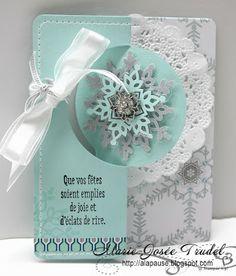 A La Pause: Embellissement Touche de Givre, Marie-Josée Trudel, Stampin' Up! SU Festive Flury Big Shot Thinlits card carte dépliable
