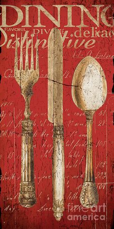 Vintage Dining Utensils In Red Canvas Print / Canvas Art by Grace Pullen