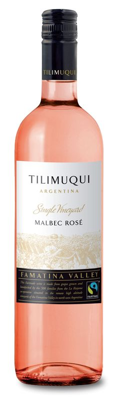 Tilimuqui Single Vineyard Fairtrade Malbec Rosé 2014. With an intense floral aroma, where ripe red fruits really shine through, this rosé is light, well balanced, fresh and fruity.  RRP: £7.99    www.tilimuquiwines.com