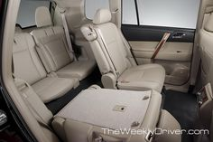 """""""2012 Toyota Highlander third row seating is standard."""" I saw one that caught my attention today. The front looks similar to the Corolla or Camry. A third row is nice, but not a necessity."""