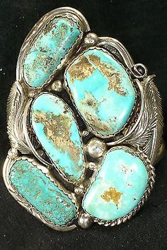 HUGE-5-STONE-NAVAJO-STERLING-SILVER-TURQUOISE-BRACELET-NATIVE-AMERICAN-DEAD-PAWN