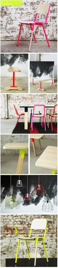 Fun neon furniture from Koskela. Neon Design, Bar Design, Neon Furniture, Furniture Design, Chill Style, Restaurant Seating, Sustainable Furniture, Workspace Design, Get Happy
