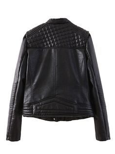 Black Double Breasted Leather Biker Jacket | Choies