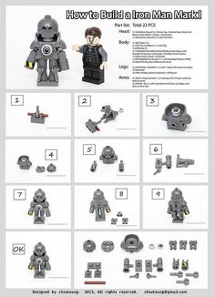 How to Build Iron Man Mark 1 Suit  #Iron Man #LEGO #LEGOIronMan http://www.Adopt-A-Brick.com/