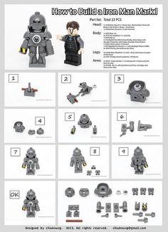 How to Build Iron Man Mark 1 Suit  #Iron Man #LEGO #LEGOIronMan http://www.Adopt-A-Brick.com/