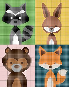 Ravelry: Katharakete's animals of the forest baby blanket - woodland animals blank . - Belén Ortiz Capisano - - Ravelry: Katharakete's animals of the forest baby blanket - woodland animals blank . Crochet Wall Hangings, Tapestry Crochet, Cross Stitch Baby, Cross Stitch Animals, Knitting Charts, Baby Knitting Patterns, Crochet Patterns, Cross Stitching, Cross Stitch Embroidery