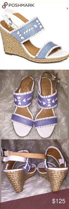 "Jack Rogers Women's Vanessa Wedge Sandals Blue 6 M JACK ROGERS WOMEN'S VANESSA WEDGE SANDAL RAFFIA BLUE COLOR SZ 6  MSRP: $178.00  	•	Slip on wear. 	•	Slingback strap with adjustable buckle. 	•	Signature stitching detail. 	•	Leather lining and footbed. 	•	Jute rope wrapped wedge heel. 	•	Man-made outsole. Imported. 	•	Breathable leather footbed. 	•	4"" heel; 3/4"" platform 	•	Leather upper and lining/rubber sole. 	•	CONDITION: IN NEW CONDITION. NO BOX OR DUSTBAG. BOUGHT AT NORDSTROM RACK. BEEN…"