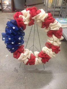 Burlap American flag wreath