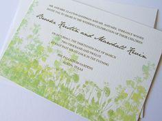 Eco-friendly wedding, green wedding invitations, modern wedding stationery. $3.70, via Etsy.