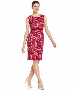 Adrianna Papell Sleeveless Contrast Lace Sheath, Macys, reg. $140, sale $112
