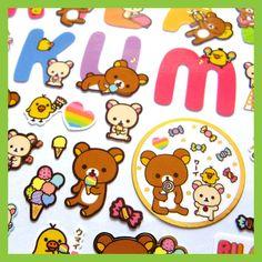 Very Cute Rilakkuma Rainbow Ice Cream Stickers