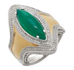 Tracey Bregman Sterling Silver Green Onyx & Diamonds Ring