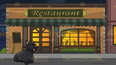 A Cute Scottish Terrier Dog With Outside A Fancy Restaurant Background :  A small dog with long dark gray fur looking adorable while parting its lips to reveal a pink tongue and Outside a restaurant during a starry night sky with pale orange walls beige bricks moss green awning and classic windows and doors silhouettes of people eating inside the restaurant are projected via the classy lighted window