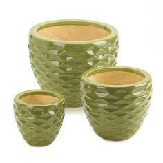 Ceramic Green Planter Set