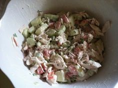 Easy refreshing crab salad  1 cucumber thinly sliced 4 green onions chopped 1 package imitation crab flakes  Mayonnaise   Mix all ingredients, chill for an hour, enjoy I added fresh spinach and had it in a wrap one day. YUMMY