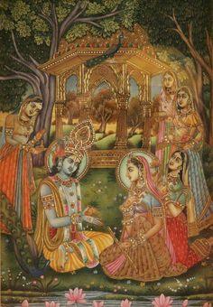Krishna teaching flute to radha