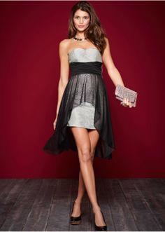 Glitzer-Corsagen-Kleid mit Chiffonlage - schwarz/gold