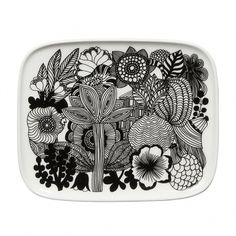 Made of white stoneware, this small rectangular plate depicts healthy flowers in bloom. It's dishwasher, microwave, and freezer safe; glazed colors and pattern remain vibrant. We can supply all products from Marimekko