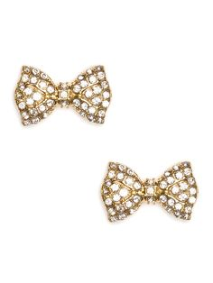 These Gold Earrings Exude Glitz And Glamour In A Chic Compact Style Shaped Like Sweet Bows Covered Glittering Crystals They Re Also Fabulously