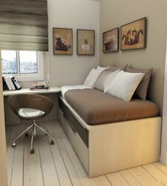 Check Out 30 Space Saving Beds For Small Rooms. A small bedroom can present big design challenges. When there's a depressingly finite amount of square footage to play with, must-haves like a bed and a dresser can be stubborn in their lack of flexibility. Space Saving Bedroom, Small Room Bedroom, Spare Room, Kids Bedroom, Kids Rooms, Dorm Room, Master Bedroom, Men Bedroom, Childrens Bedroom