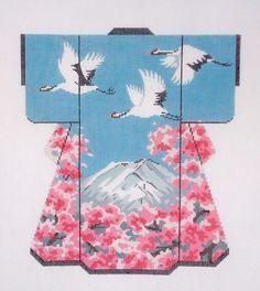 LEE Cranes Fly Over Mt. Fuji Oriental LG. Kimono handpainted Needlepoint Canvas