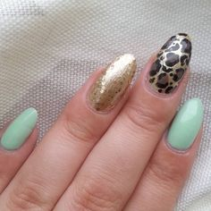 """""""Cheetah, gold and mint  Colors Used: @sally_hansen #mintsorbet @sally_hansen #goldeni @wetnwildbeauty #megarocks @nyc_new_york_color for the brown and Sally Hansen for the black. Love this combo♡"""""""