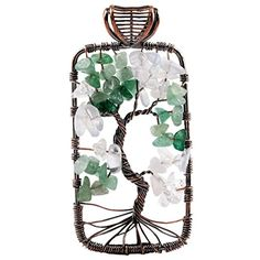 Amazon.com: rockcloud Tree of Life Tumbled Stone Pendant Necklace Wire Wrapped: Jewelry