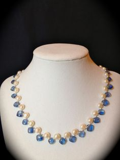 Another vision:  Blue Kyanite, fresh water pearls and seed bead pearls...  Also available..
