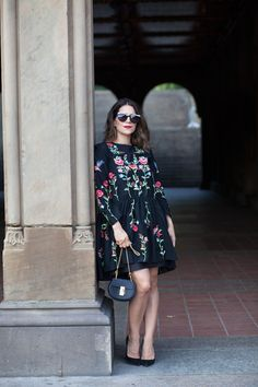 zara embroidered dress with chloe drew bag Fashion Night, Look Fashion, Womens Fashion, Zara Black Dress, Office Outfits, Zara Dresses, Boho Outfits, Manolo Blahnik, Summer Looks