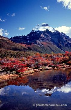 Reflection of Cerro Solo, Parque Nacional los Glaciares, Patagonia, Argentina. Stock Photo
