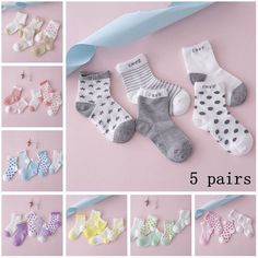 Awesome New 5 Pairs Baby Boy Girl Cotton Star Socks NewBorn Infant Toddler Kids Winter Warm Soft Sock - $5.79 - Buy it Now!