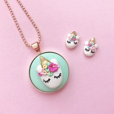 Unicorn earrings and pendant necklace by Perth maker Clay and Clasp