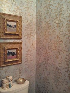 Pale Gold and Bronze Metallic Paints used to stencil bath walls | Project by Sylvia T. Designs