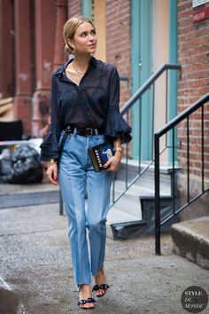 Pernille Teisbaek - #trousers #blue #denim #blouse #navy #highheels #sandals #stylestreet #fashion #style #blogger #styleblogger