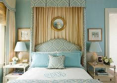 pretty blue, white and beige bedroom, coastal colours